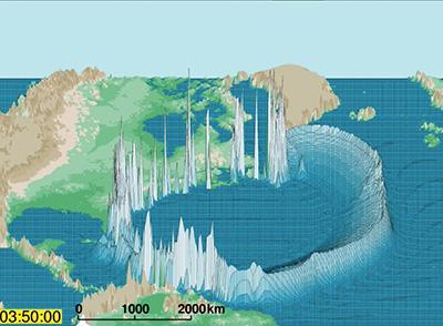 Massive tsunami sweeps Atlantic Coast in asteroid impact