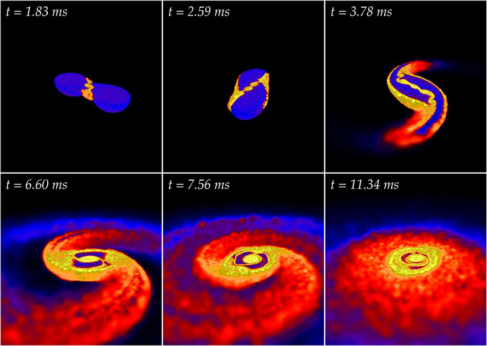 The merger of two neutron stars, shown in this snapshot from a computer simulation, creates gravitational waves that could be detected by sensitive instruments. (Credit: Stephan Rosswog and Enrico Ramirez-Ruiz.)