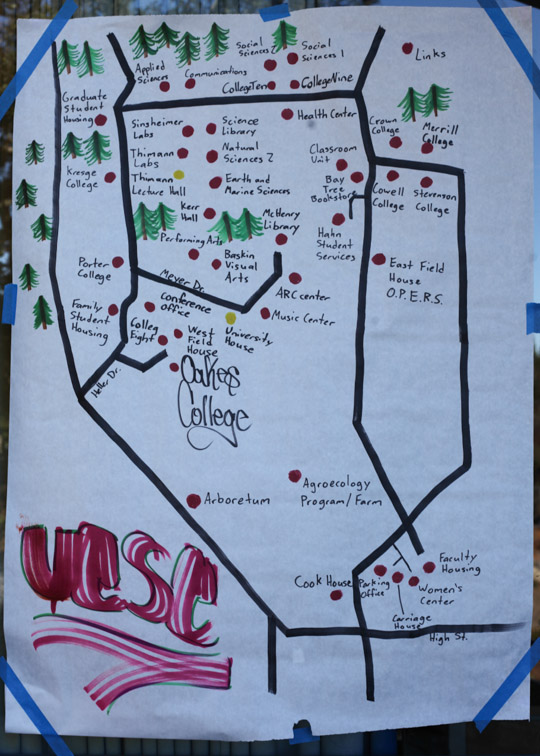 Sometimes you just need a map. This hand-drawn map shows new students how to get around UCSC's expansive campus.