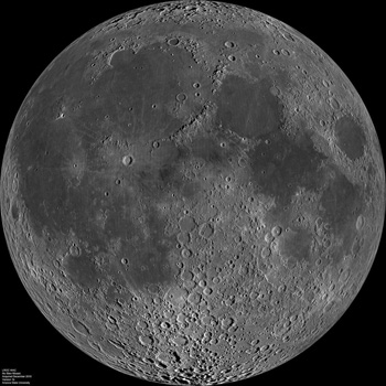 NASA's Lunar Reconnaissance Orbiter Camera acquired this image of the nearside of the moon in 2010.