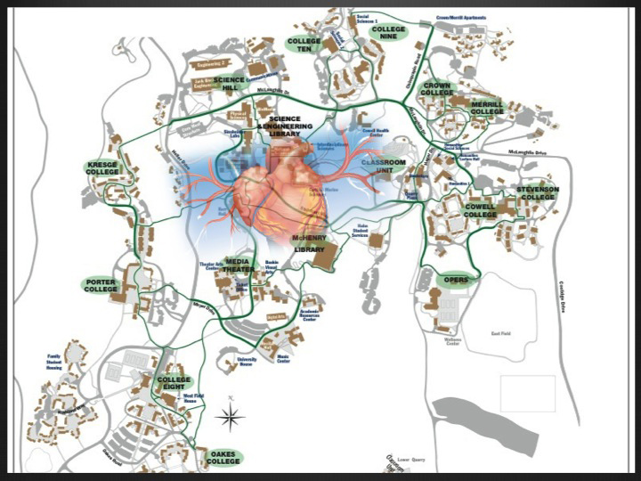 Campus map with heart (literally)