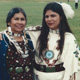 Teri Greeves's mother and sister beaded a buckskin dress and presented her with a pair of