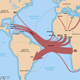 map showing overview of the slave trade out of Africa, 1500-1900