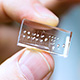 optofluidic chip held between thumb and finger