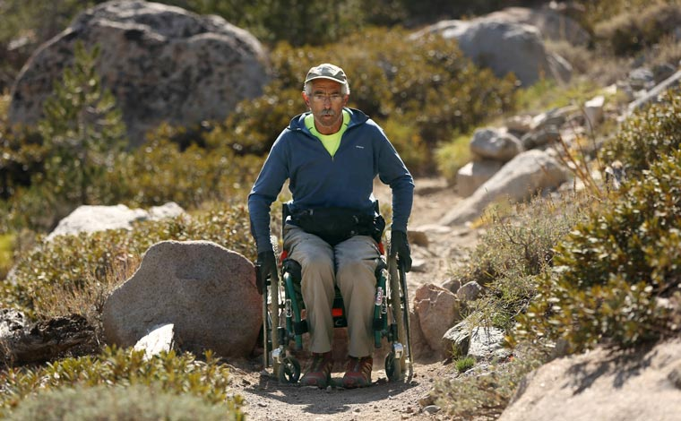 Bob Coomber travels the Kearsarge Pass trail in his wheelchair.