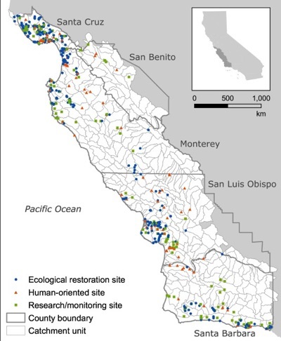 Coastal stream restoration projects concentrated where