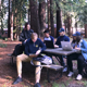 UC Santa Cruz students gathering on a picnic bench