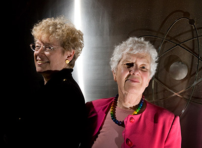 Sandra Faber and Vera Rubin posing for the National Post