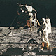 lunar module and astronaut on moon