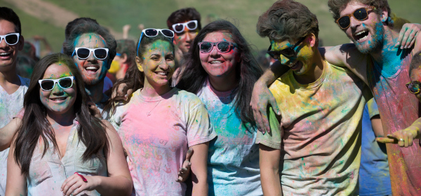 April 1st festival on the east field featured music and lots of colored powder.