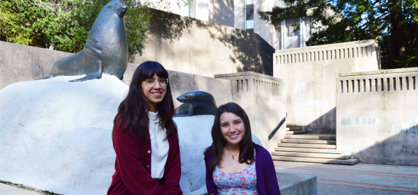 Linda Pineda, left, and Erica Ferrer worked on coastal  research last summer.