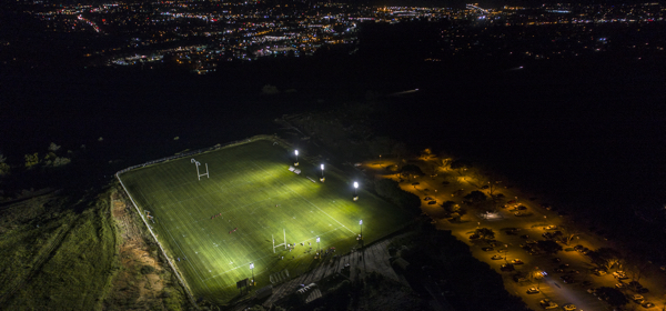 The Lower East Field now sports lights that allow teams to practice in the evenings, thanks to a gift by rugby alumnus George Kraw. (Photo by Stephen Louis Marino)