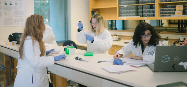 Students in Professor Jeremy Sanford's undergraduate research lab work on projects directly connected to research on disease-causing genetic mutations.